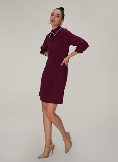 NGSTYLE NGSTYLE Klasik Yakalı Taş Detaylı Mürdüm Kadın Elbise Mürdüm